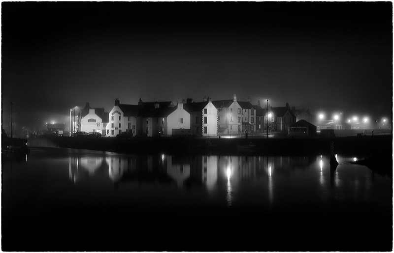 Eyemouth Harbour shot at night Black & White image.