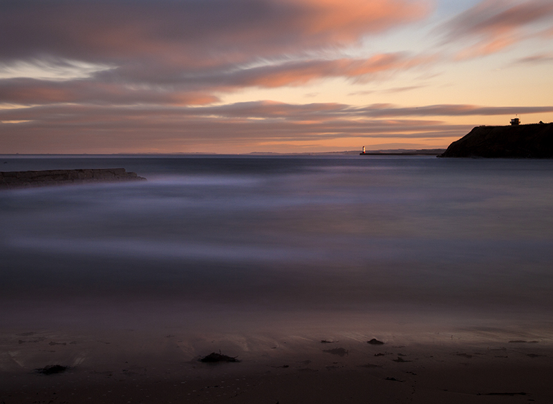 Sunset over Berwick Lighthouse. Long exposure